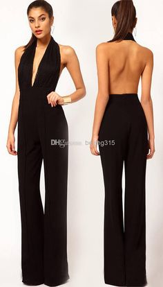 Western Women's Sexy Lace Halter Neck Jumpsuits Backless Dress Pants Plus Size Wide-Leg Trousers Loose Long Pants Online with $24.63/Piece on Beijing315's Store   DHgate.com