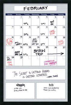 Mezzanotte Blue Quatrefoil Big Dry-Erase Calendar Whiteboard, 3' x 2'