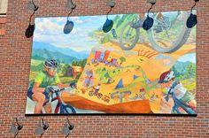 Mountain Biking Mural in downtown Steamboat Springs, Colorado