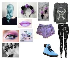 """""""Pastel Goth"""" by ashgordan ❤ liked on Polyvore featuring Boohoo, OneTeaspoon, Dr. Martens, WearAll, casual, Punk, goth, pastel and pastelgoth"""