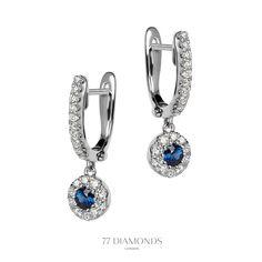 The 'Mirage' #diamond drop earrings set with 2 blue #sapphires @77 Diamonds