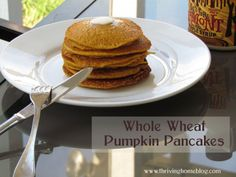 Whole Wheat Pumpkin Pancakes - Healthy and full of all the favorite fall flavors.