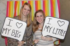 We LOVE this idea - for a photobooth for any event, but especially bid day or big/little reveal, have a dry erase board to write messages to show during the picture like the one above! Show us yours!