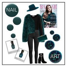 """Dark Green - Nail Art"" by summer913 ❤ liked on Polyvore featuring beauty, Janessa Leone, Deborah Lippmann, Polaroid, Off-White and Edie Parker"