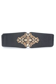 This waist belt crafted in PU, featuring diamond carved metal embellished to front with hook fastening, a wide-cut design, an elasticated insert to the reverse.$22