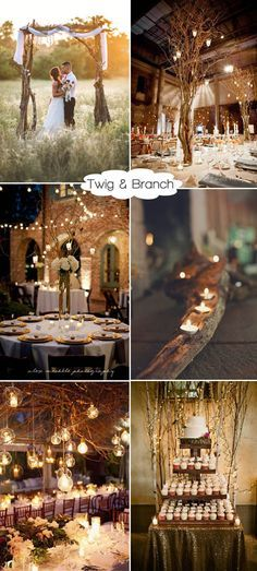 rustic twigs and branches wedding decor ideas