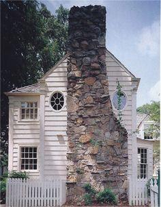 Stone Fireplace Exterior White Siding - Jean Keller Huff
