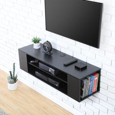 Modern Floating Wall Mounted Flat TV Console Media Center Storage Shelf Cabinet for sale online Wall Mounted Media Console, Console Shelf, Tv Shelf, Shelves, Mounted Tv Decor, Floating Tv Stand, Floating Wall, Floating Media Shelf, Floating Tv Console