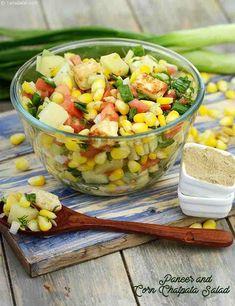 Paneer and Corn Chatpata Salad recipe, Corn Recipes Source by Brandboxsg Sweet Corn Salad Recipe, Corn Salad Recipes, Sprout Recipes, Vegetarian Cooking, Vegetarian Recipes, Cooking Recipes, Healthy Recipes, Healthy Dinners, Paneer Recipes