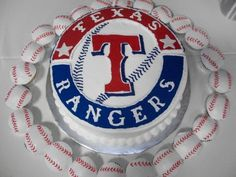Texas Rangers cake with baseball cupcakes.  Chocolate with buttercream