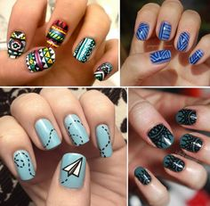 DO IT!:    you can use nail art brushes or small paint brushes for some designs. here's a nice kit of brushes for $10. or you can use a stamping kit like these by Konad for the really intricate designs.