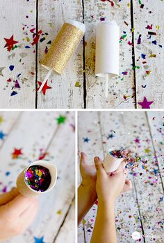 These confetti poppers are perfect for the Fourth of July! The kids will love them, and they can even help put them together :-) Push Pop Confetti, Confetti Poppers, Kids New Years Eve, New Years Party, New Year Diy, New Year Gifts, Nye Party, Party Time, Gold Party