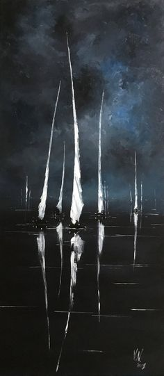 White sailboats painting Oil painting on canvas Night seascape Impressionism art Blue and white art Night sea paining Office decor Interior Iris Painting, Oil Painting On Canvas, Art Bleu, Night Sea, Sailboat Painting, Sailboat Art, Ukrainian Art, Impressionism Art, White Art