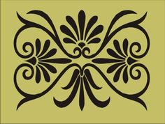 Wall Stencil Damask Flourish design 1 border scoll image is approx. 6 x 4.5 inches. $6.95, via Etsy.