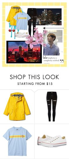 """""""downtown; II"""" by jibootycalls ❤ liked on Polyvore featuring River Island, ODD FUTURE, Converse, INDIE HAIR, city, kpop, lights, bts and taehyung"""