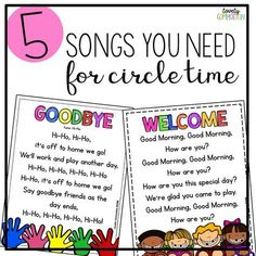 5 Songs you need for Preschool Circle Time. Come learn about the MUST SING songs for circle time in your preschool classroom!