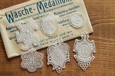 Collection of 6 initial lace embroidery monogram R  - label, tag, antique lace, lace embroidery, trim, lace initial, washing label by Yebisu on Etsy