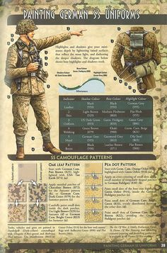 Citadel of War: Flames of War - Painting Guide - German SS German Soldiers Ww2, German Army, Military Figures, Military Diorama, German Uniforms, Ww2 Uniforms, Bolt Action Miniatures, Paint Charts, Camouflage