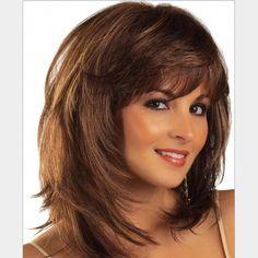 Buy Women's Fashion Wig Human Hair Glueless Wigs at Wish - Shopping Made Fun Haircuts Straight Hair, Medium Bob Hairstyles, Wig Hairstyles, Short Bob Wigs, Short Curly Hair, Medium Hair Styles, Curly Hair Styles, Hair Medium, Natural Straight Hair