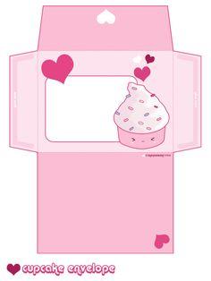 Cupcake Envelope by riaherod on DeviantArt Fimo Kawaii, Kawaii Crafts, Anime Crafts, Paper Toys, Paper Crafts, Envelope Template Printable, Free Printable, 3d Templates, Cute Envelopes