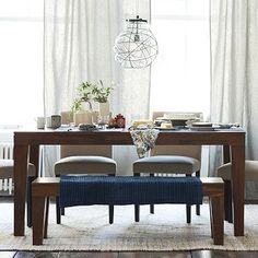 Carroll Farm Dining Table #WestElm  Love this whole set, the bench and chairs with the farm table!