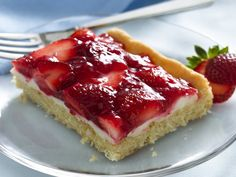 Strawberries and Cream Dessert Squares recipe using Betty Crocker sugar cookie mix.  Voted Best Red Carpet Dessert for 2008.