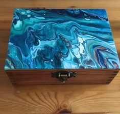 Your place to buy and sell all things handmade Painted Wooden Boxes, Painted Jewelry Boxes, Wood Boxes, Hand Painted, Wooden Box Crafts, Craft Closet Organization, Diy Resin Crafts, Antique Boxes, Bottle Painting
