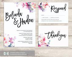 Romantic Multi Watercolour Wedding Invitation PDF von ClaireandEve