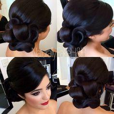 The Gorgeous Macey ❤️ Hair & Makeup By Fancy Hairstyles, Bride Hairstyles, Bridal Hair And Makeup, Hair Makeup, Curly Hair Styles, Natural Hair Styles, Classic Wedding Hair, Hair Upstyles, Pinterest Hair