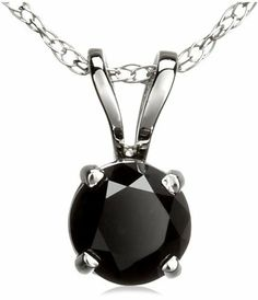 14k White Gold Black Diamond Solitaire Pendant (1/4 cttw) Amazon Curated Collection. $125.00. All our diamond suppliers certify that to their best knowledge their diamonds are not conflict diamonds.. Made in USA. The total diamond carat weight listed is approximate. Variances may be up to .03 carats.. Black diamonds may have been treated to improve their appearance or durability and may require special care.. Save 27% Off!