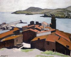 "Albert Marquet, ""Vue de Collioure"", h/lin. Great Paintings, Art Painting, Landscape Paintings, French Art, Fauvist, Art Van, Painting, France Art, Art"