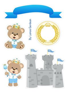 Teddy Bear Party, Silhouette Frames, Album Scrapbook, Blue Nose Friends, Cake Toppers, Paper Art, Free Printables, Baby Boy, Clip Art