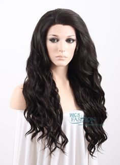 "Long Curly Wavy 24"" Natural Black Lace Front Synthetic Fashion Wig Heat Resistant $52"