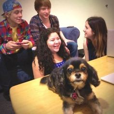 """The Cast Of """"Austin and ally"""" with ross lynch's dog pixie"""