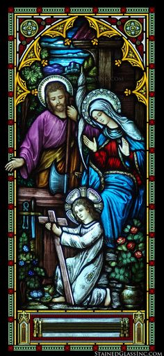 """Young Jesus with Family"" Religious Stained Glass Window                                                                                                                                                                                 More"
