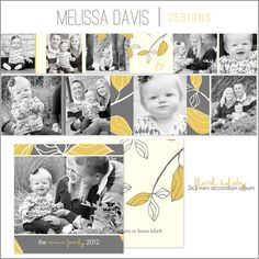 Christmas in July! NEW 2012 Floral Holiday mini accordion album template set from Melissa Davis Designs!