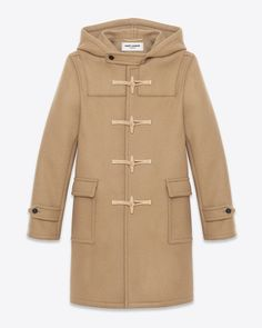 SAINT LAURENT Classic Duffel Coat in Camel Wool $2890.00 USD