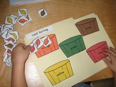 Fall leaf sorting activity: maybe sort based on words ending in -ay, -ing, -at, etc. This website also has some other good fall activity ideas. Fall Preschool Activities, Sorting Activities, Preschool Lessons, Classroom Activities, Toddler Activities, Classroom Setup, File Folder Activities, File Folder Games, File Folders