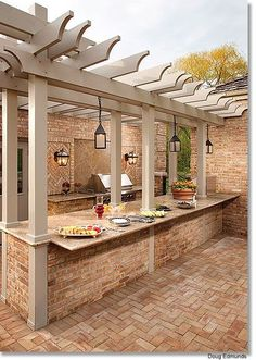 pergola over an outdoor kitchen bar for buffet style parties or for eating in @ Home Improvement Ideas. Would need to change the patio Outdoor Life, Outdoor Rooms, Outdoor Gardens, Outdoor Living, Outdoor Patios, Outdoor Retreat, Indoor Outdoor, Outdoor Kitchen Bars, Outdoor Kitchen Design