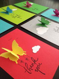 Mariposa gracias tarjetas con sobres por WaterHorseStudios en Etsy