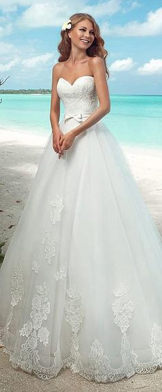 Charming Lace & Tulle Off-the-shoulder Neckline A-line Wedding Dresses