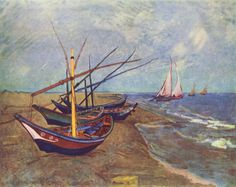 Fishing Boats on the Beach at Saintes-Maries - Vincent van Gogh . Created in Arles, France in June, Located at Van Gogh Museum Vincent Van Gogh, Van Gogh Drawings, Van Gogh Paintings, Painting Prints, Canvas Prints, Art Prints, Big Canvas, Canvas Art, Desenhos Van Gogh