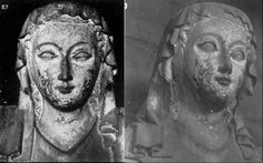 This sculpture that has been identified as Anna is wearing a barbette, a fillet across the crown of her head and a rectangular veil. Her hair is worn loose and free. Medieval Hats, Medieval World, Medieval Clothing, Middle Ages Clothing, The Crown, Her Hair, Sculptures, Carving, Veils