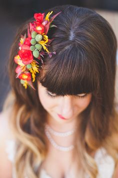 floral hair accessory // photo by June Lion // http://ruffledblog.com/whimsical-portland-brunch-wedding
