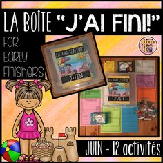 """La boîte """"J'AI FINI!"""" - JUIN includes 12 activities for students to choose from. The activities will vary from month to month. This month's activities mostly include literacy and interactive activities and one math related activity. """"LA BOÎTE """"J'AI FINI!"""" is a great solution to the """"Madame/Monsieur...J'ai fini..."""" statements we hear over the course of the day. French Resources, Vocabulary Cards, Early Finishers, New Month, Interactive Activities, Winter Olympics, Blank Cards, Second Grade, Small Groups"""