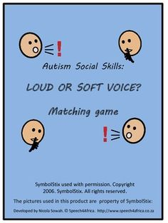 Autism Social Skills: Loud or Soft Voice Matching Game Social Skills Autism, Teaching Social Skills, Social Behavior, Autism Resources, Teaching Kids, Speech Language Therapy, Speech And Language, Speech Therapy, Voice Therapy