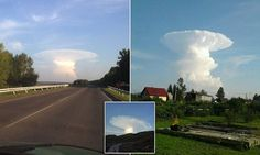 Massive mushroom cloud terrifies residents in Siberia - fact what they were seeing was a huge anvil cumulo-nimbus cloud, formed after a thunderstorm caused clouds to be blown to the side.