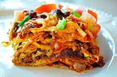 Gluten Free, Dairy Free, Super Simple Enchilada Casserole - use any meat you prefer or go vegan.