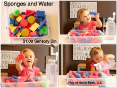 Sponges and Water.  Infant Play.  Toddler Play.  Water Play.  Sensory Play