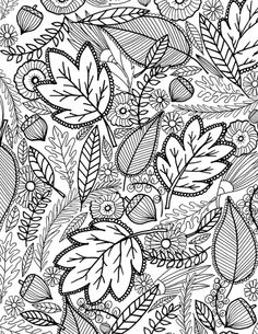 Free Printable Fall Leaves Coloring Page For Adults